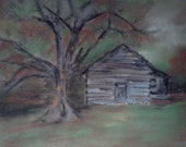 Autumn Country Cabin - yellowbutterflyart