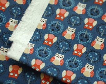 Oxford Cotton Fabric Cute Owl Navy By The Yard