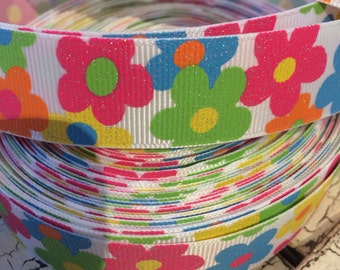 "3 yards 1"" Glitter Spring Flowers Floral grosgrain ribbon"