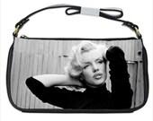 Marilyn Monroe Norma Jean Black Calfskin Leather Shoulder Strap Clutch Bag Purse Tote Handbag Custom Made 41019876