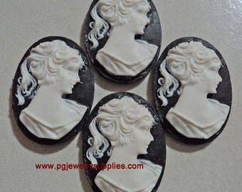 25mm x 18mm ponytail lady profile cameos white on black 4 pieces lot l