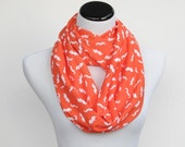 Infinity scarf mustache scarf - circle scarf loop scarf bright coral orange mustache gift idea for her - gift for mom gift for girl