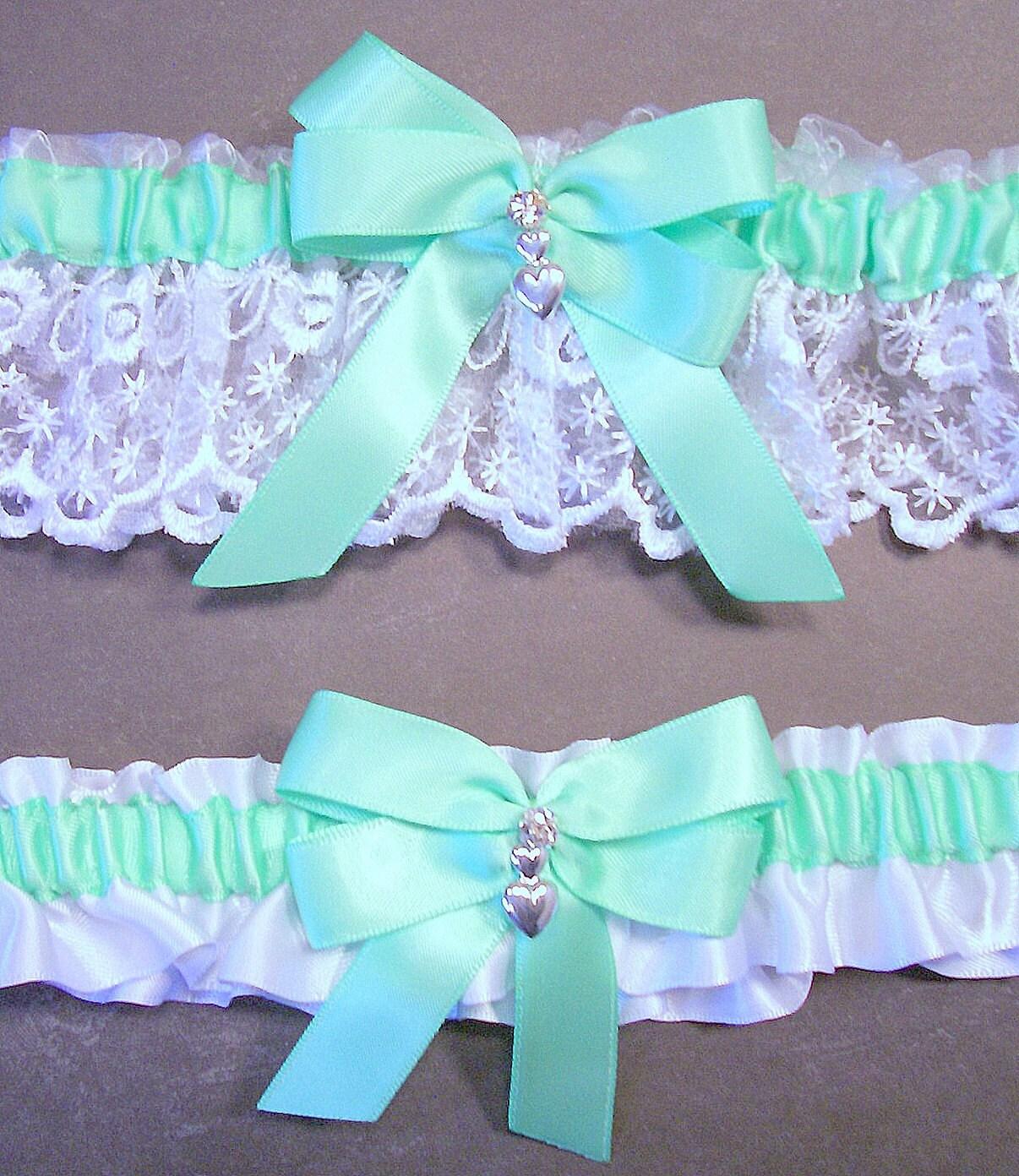White Wedding Garter: Mint Green On White Wedding Garter Set Bridal By Evertonbridal