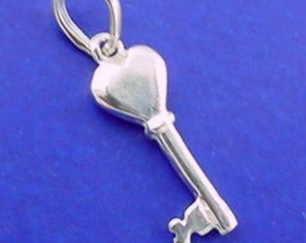 KEY To My HEART Charm .925 Sterling Silver