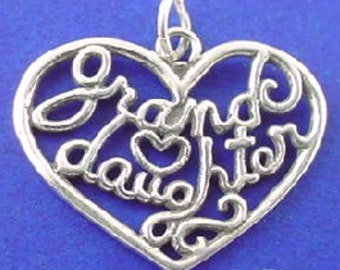 GRANDDAUGHTER Heart Charm, Grand Daughter .925 Sterling Silver Charm