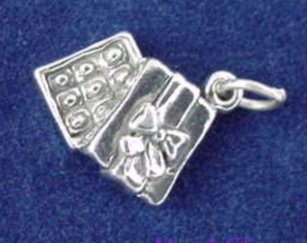 BOX Of CHOCOLATES Charm, Chocolate Candy .925 Sterling Silver Charm
