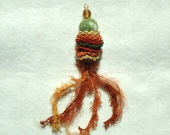 textile fiber pendant,  autumn colors