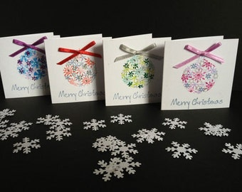4 x Handmade Christmas Bauble stunning cute mini cards with sparkling gems & glitter