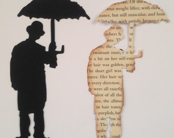 15 black or Vintage distressed notebook Tim holtz Umbrella man die cuts for cards/toppers cardmaking scrapbooking