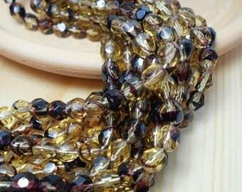 6mm Jonquil and Brown Firepolish, Czech Beads, Dark Brown Beads, Yellow Beads, Faceted Yellow Beads, Crystal Beads, Jonquil Beads, D-B03