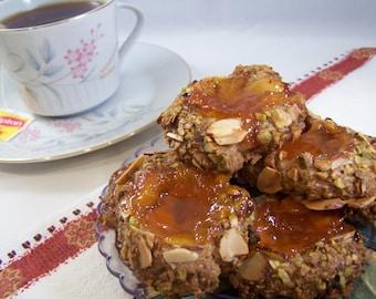 Pistachio and Almond, Apricot Thumbprint Cookies - 1dz