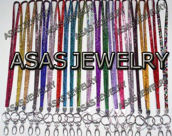New Bling Rhinestone Crystal Custom Lanyard with Key Chain and Clip for ID Badge Holder or Cell Phone Handmade Lanyards