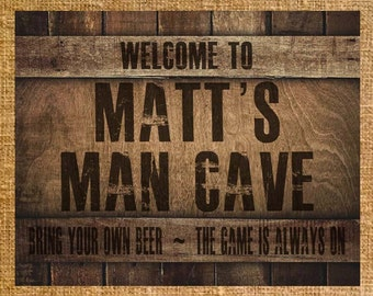 Personalized Man Cave Sign -  Printable - Digital File - 8x10 or 11x14
