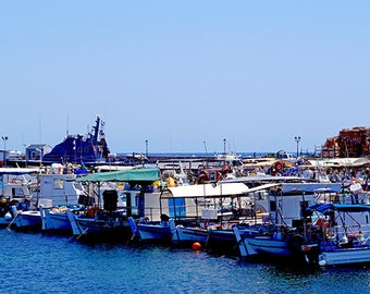 Harbor Boats In Mediterranean Waters - Fine Art Photography - Digital photography download, sea photography, photography, boat photo