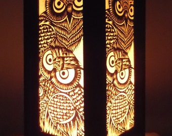 Thai Handmade Asian Oriental Classic Owl Wood Craft Lamp Bedside Table Light Home Decor Bedroom Decoration Modern Thailand