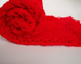 Cherry Red Hand Knitted Acrylic Scarf - Women's Scarf - Teen Scarf - Vegan Scarf - Red Scarf - Red Acrylic Scarf - Red Vegan Scarf
