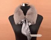 100% real fox fur scarf grey collar high quality winter warm wrap shawl accessories 321