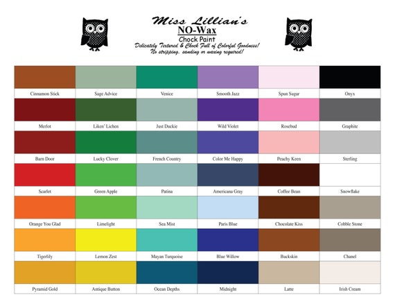 Miss Lillian S No Wax Chock Paint Colors
