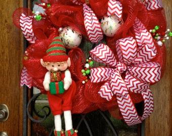 Red Deco Mesh Wreath, Elf Wreath, Deco Mesh Wreath, Christmas Wreath