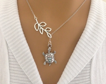 Lariat Style Silver leaf and Turtle Necklace