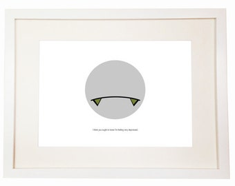 Marvin the Paranoid Android - You Can Include White Wood Frame - Hitchhiker's Guide to the Galaxy - Answer to the Ultimate Question of Life