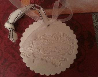 Embossed Polymer Clay Gift Tag - LOVE YOU