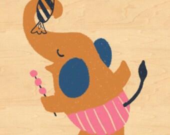 13DOTS Elephant Maple Veneer Post Card
