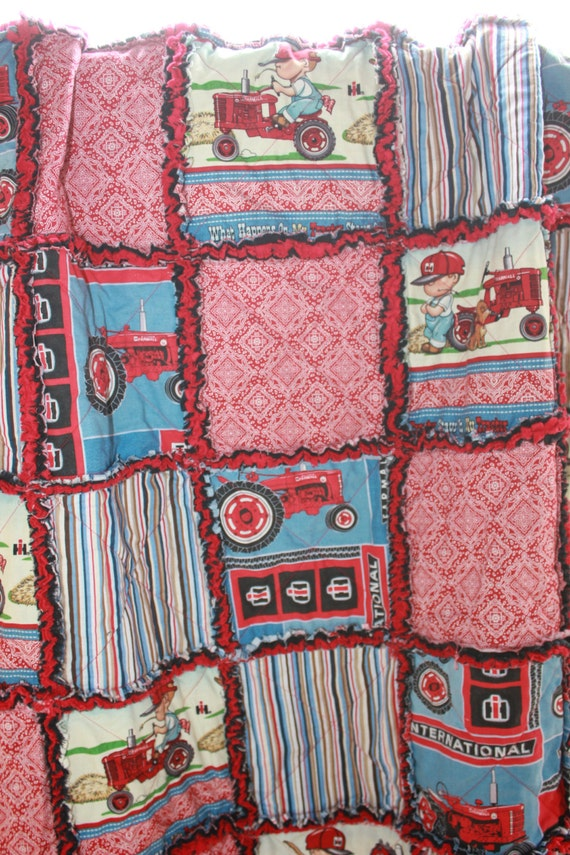 Farmall Tractor Bed Set : Baby rag quilt in a farmall international harvester tractor