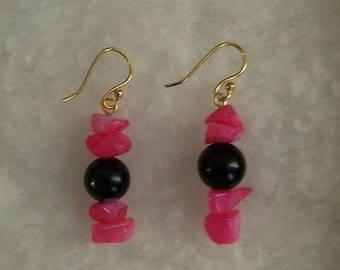 Hot Pink and black glass earrings