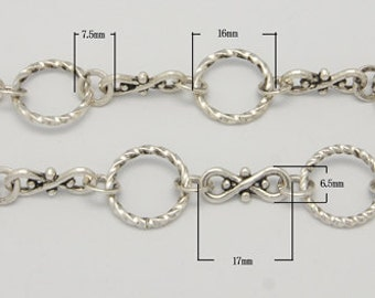 Handmade Antique Silver Link Chain, one meter loop
