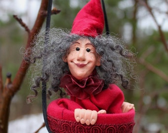 """Puppet """"Angelina"""" - Wine Red, Hand Sculpted Art Doll / Toy"""