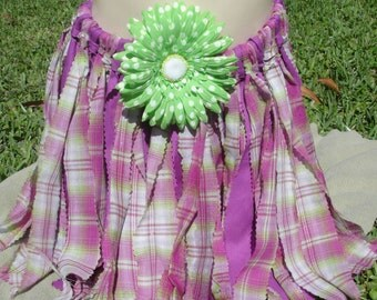 Ready to ship!  Spring or Everyday Rag Skirt in Lavender and Green