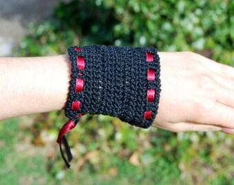 Black Crochet Cuff / Bracelet / Bangle