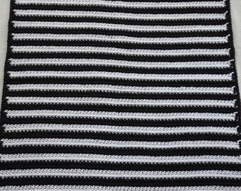 Handmade Crochet Carpet / Crochet Rug black and white