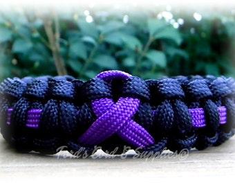 Purple Awareness Ribbon Bracelet, Paracord Bracelet, Alzheimer's, Domestic Violence, Pancreatic Cancer, Epilepsy, Lupus, Crohn's Disease