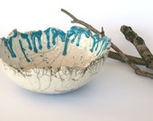 Ceramic bowl white, raku pottery bowl with turquoise dripping