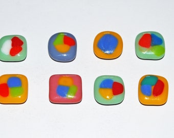 8 Handmade Fused Glass Magnets
