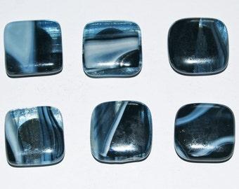 6 Black and White Swirls Handmade Fused Glass Magnets