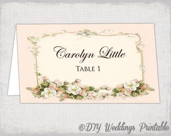 pink place card template parisian name cards diy vintage blossom wedding printable place