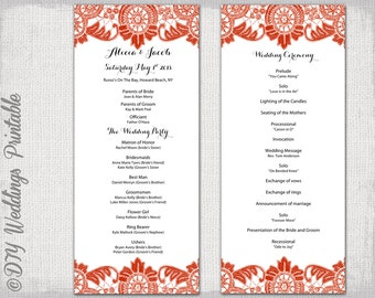 wedding ceremony order of service template free - wedding program template scarlet red antique lace