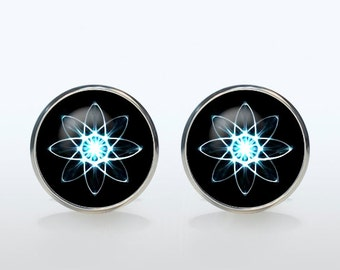 Atom Cufflinks Silver plated Quantum Physics Cuffl inks for men and women Accessories science invention black blue