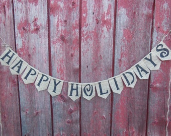 christmas banner, Happy Holiday Bunting, Happy Holiday Banner, Holiday Bunting, Holiday Decor, Burlap Bunting, Burlap Banner, Burlap Garland