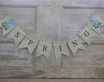 Spring Banner, Spring Garland, Spring Bunting, Spring Sign, Easter Spring Decor, Home Decor, Burlap Banner Bunting, Rustic, Photo prop