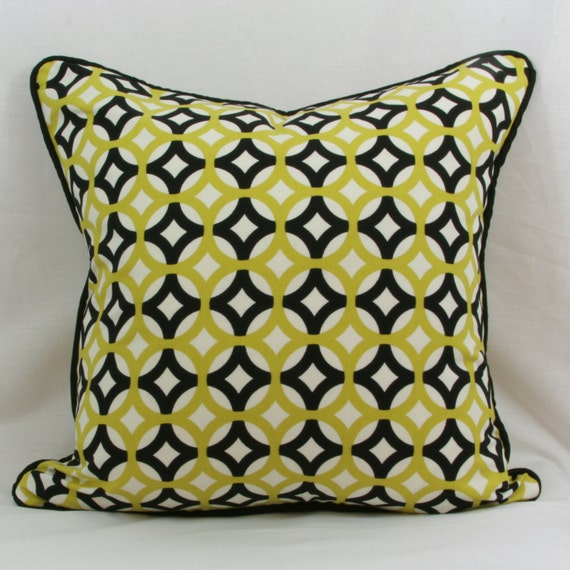 Green Geometric Throw Pillow : Items similar to Green and black geometric throw pillow cover with black welt. 20 x 20 pillow ...