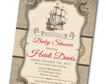 Vintage Ship Baby Shower Invitation. Retro Baby Boy Shower Invite. Any custom color. DIY digital printable.