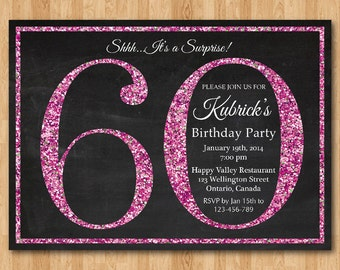 60th birthday invitation. Pink Glitter Birthday Party invite. 60th 70th 80th 90th. Adult Surprise Birthday. Elegant. Printable digital DIY.