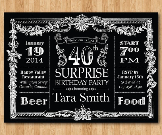Super 40e invitation anniversaire. Anniversaire Surprise de tableau DM55