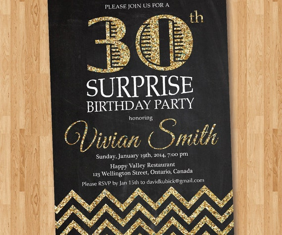 30th Birthday Invitation For Women. Adult Surprise Birthday
