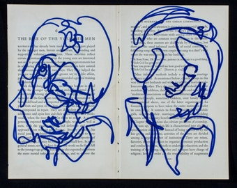 Book Page Blind Contour Portraits