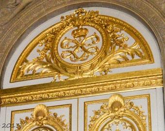 Gold and White Door, Paris Photography, Paris Photo, French Decor, Paris Decor, Verseille,GoldDoor, Gilded